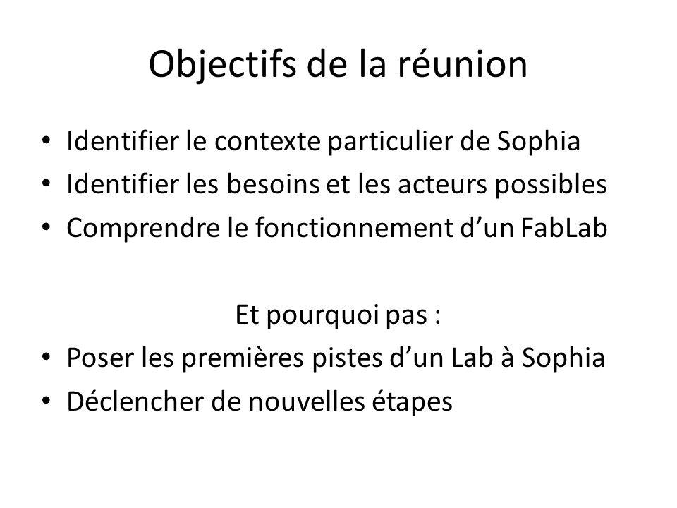 Objectifs de la réunion Identifier le contexte particulier de Sophia Identifier les besoins et les acteurs possibles Comprendre le fonctionnement d'un FabLab Et pourquoi pas : Poser les premières pistes d'un Lab à Sophia Déclencher de nouvelles étapes