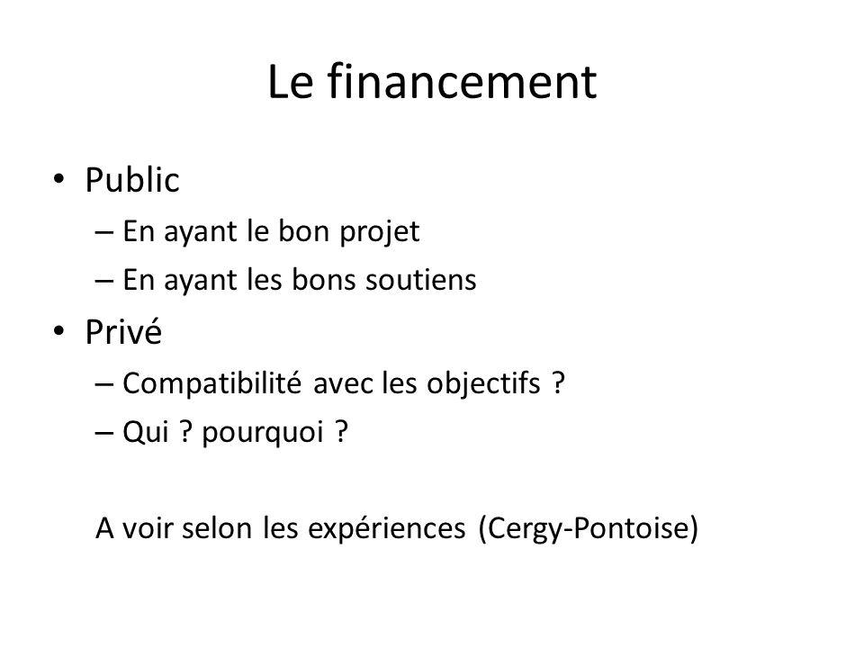 Le financement Public – En ayant le bon projet – En ayant les bons soutiens Privé – Compatibilité avec les objectifs .