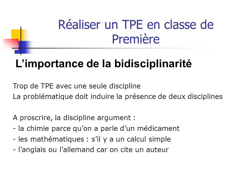 Réaliser un TPE en classe de Première Deuxième partie : Construire le TPE en accompagnant l'élève
