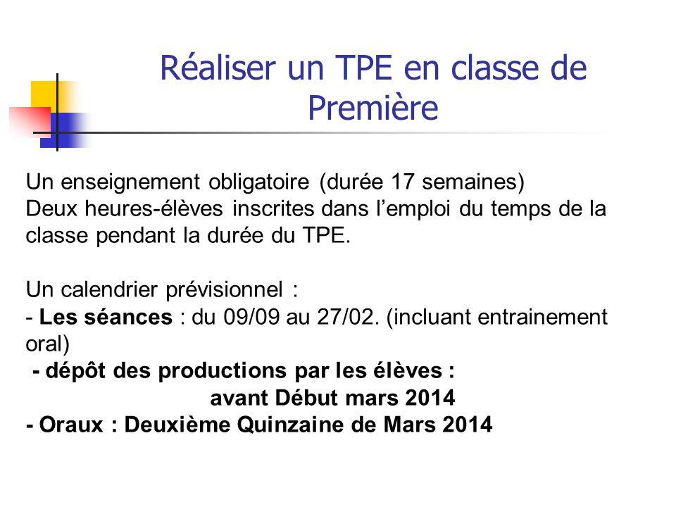 Réaliser un TPE en classe de Première Le TPE est - un travail en groupe 2 à 3 (4 exceptionnellement après accord des enseignants) - qui s'appuie sur une recherche documentaire (place du CDI et du professeur de documentation)