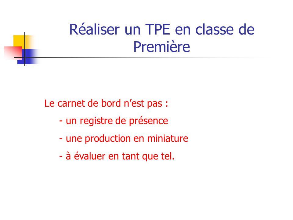 Réaliser un TPE en classe de Première Note de service N°2011-091 DU 16-6-2011, publiée au BO n°26 du 30 juin 2011 BO n°26 du 30 juin 2011 Troisième partie : La production et la synthèse