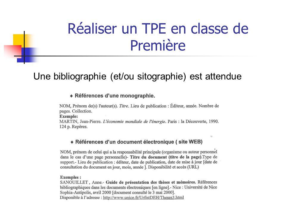 Réaliser un TPE en classe de Première La synthèse personnelle du TPE - annonce la problématique.