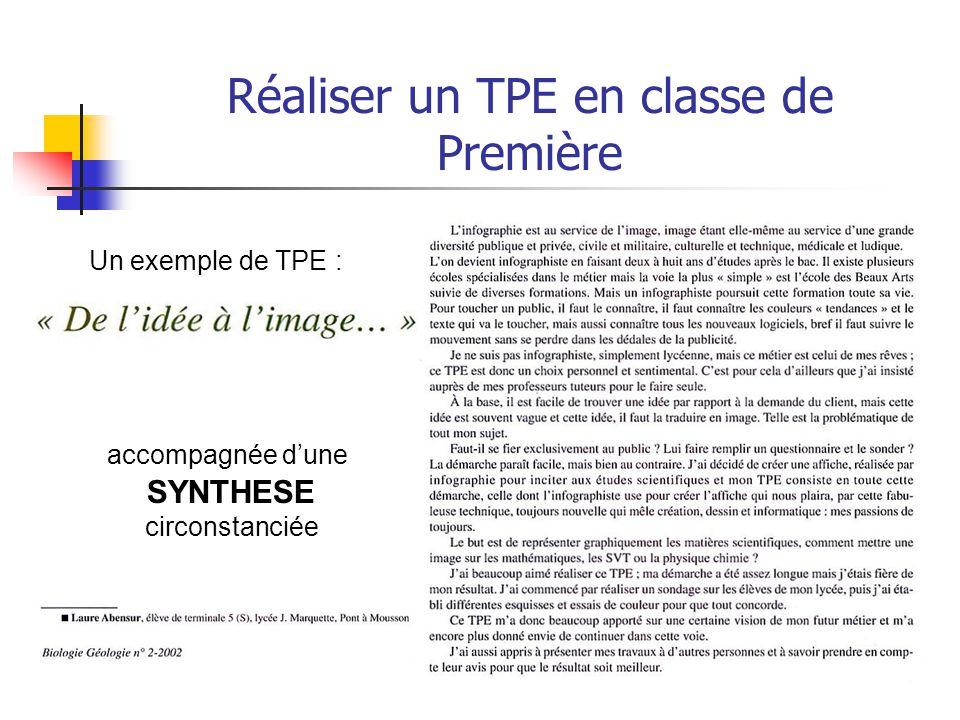 Réaliser un TPE en classe de Première Quatrième partie : L'évaluation