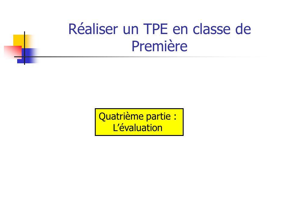 Réaliser un TPE en classe de Première Les trois grandes composantes du TPE: - la démarche personnelle de l'élève et son investissement au cours de l'élaboration du travail personnel encadré ; - la réponse à la problématique (production et note synthétique) ; - la présentation orale du projet et de la production réalisée.