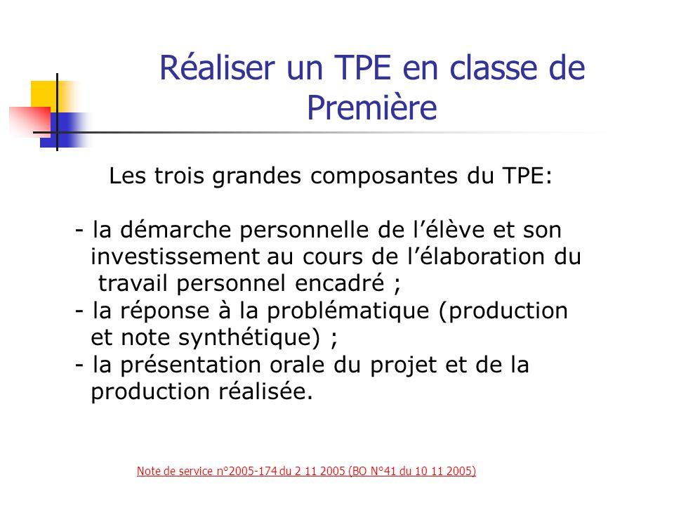 Réaliser un TPE en classe de Première La notation prend en compte pour chacun des élèves du groupe : 1) L'évaluation du travail effectué, (8/20).
