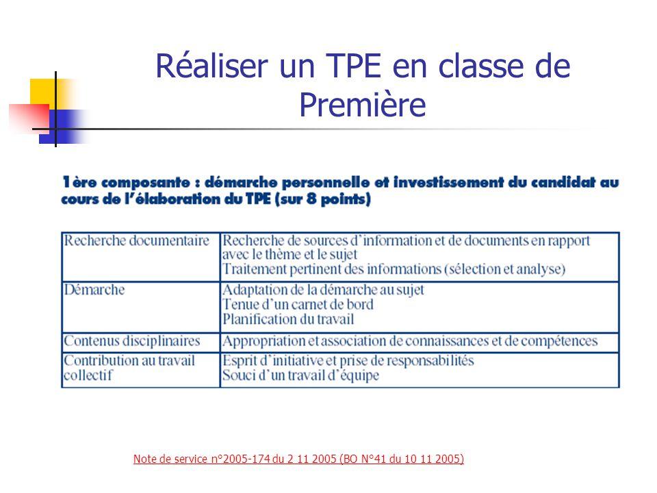 Réaliser un TPE en classe de Première La notation prend en compte pour chacun des élèves du groupe : 2) Une épreuve orale (12/20) Note de service n°2005-174 du 2 11 2005 (BO N°41 du 10 11 2005)