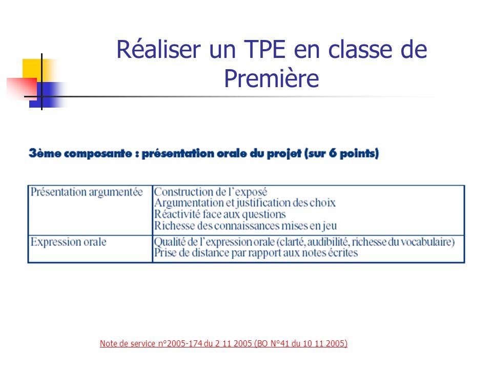 Réaliser un TPE en classe de Première Textes de référence Définition des modalités de l épreuve de TPE au baccalauréat (à compter de la session 2007) Note de service n°2005-174 du 2 11 2005 (BO N°41 du 10 11 2005) Note de service n°2005-174 du 2 11 2005 (BO N°41 du 10 11 2005) Indications de cadrage pédagogique pour les TPE à compter de la rentrée 2011 Note de service n°2011-091 du 16 06 2011 (BO N°26 du 30 06 2011) Note de service n°2011-091 du 16 06 2011 (BO N°26 du 30 06 2011) Institution des TPE en tant qu épreuve obligatoire anticipée à compter de 2006 (session 2007 du baccalauréat) Arrêté du 29 juillet 2005, (BO n°31 du 1er septembre 2005)