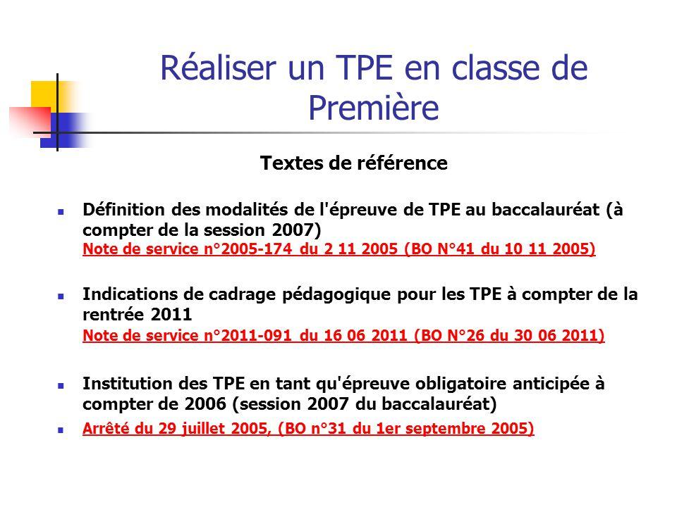 Réaliser un TPE en classe de Première Sites internet Site Educol : http://eduscol.education.fr/cid47789/tpe.html Problématique et définition du sujet en TPE (ac.