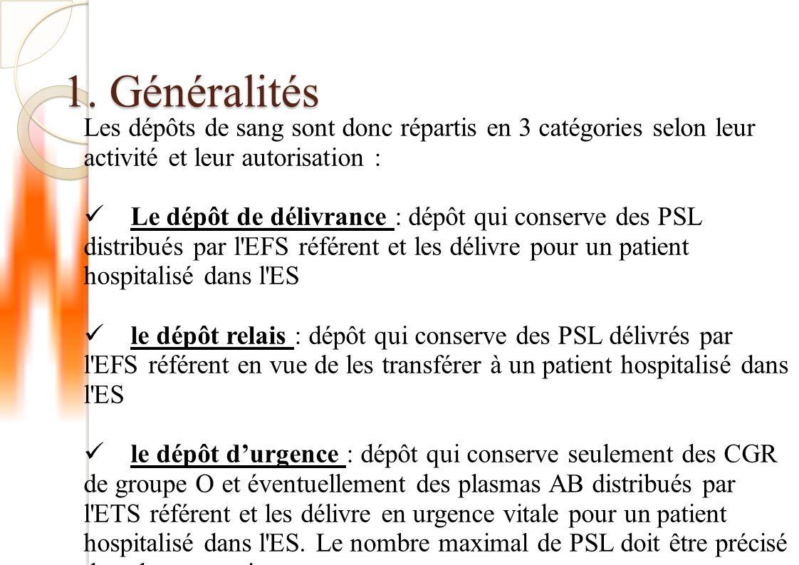 1. Généralités Les dépôts de sang sont donc répartis en 3 catégories selon leur activité et leur autorisation : Le dépôt de délivrance : dépôt qui con