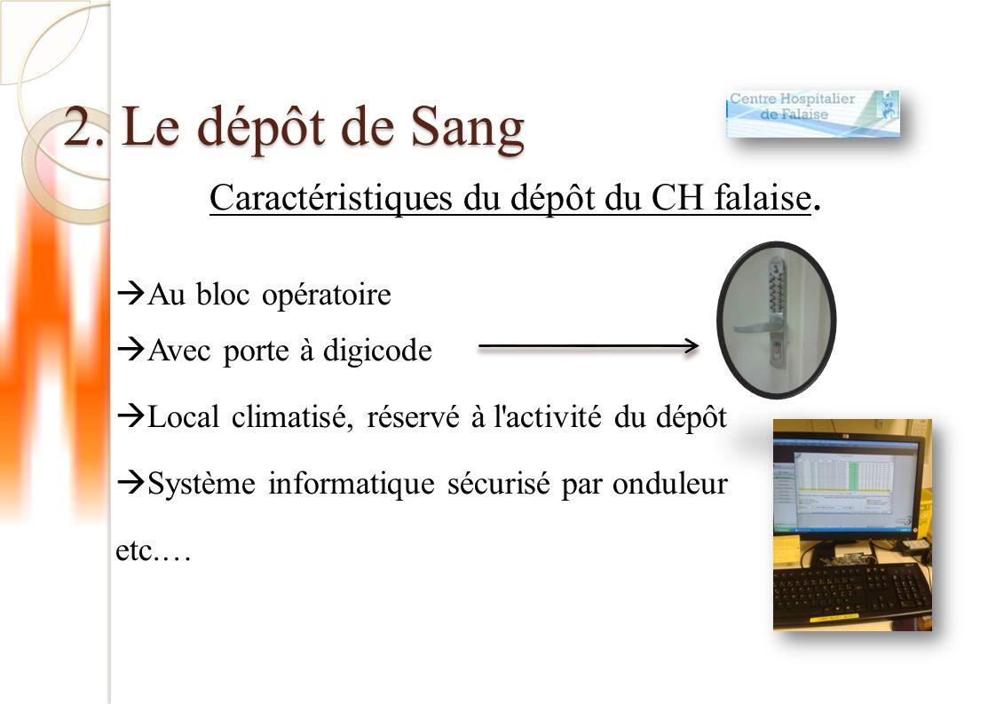 2.Le dépôt de Sang Caractéristiques du dépôt du CH falaise.