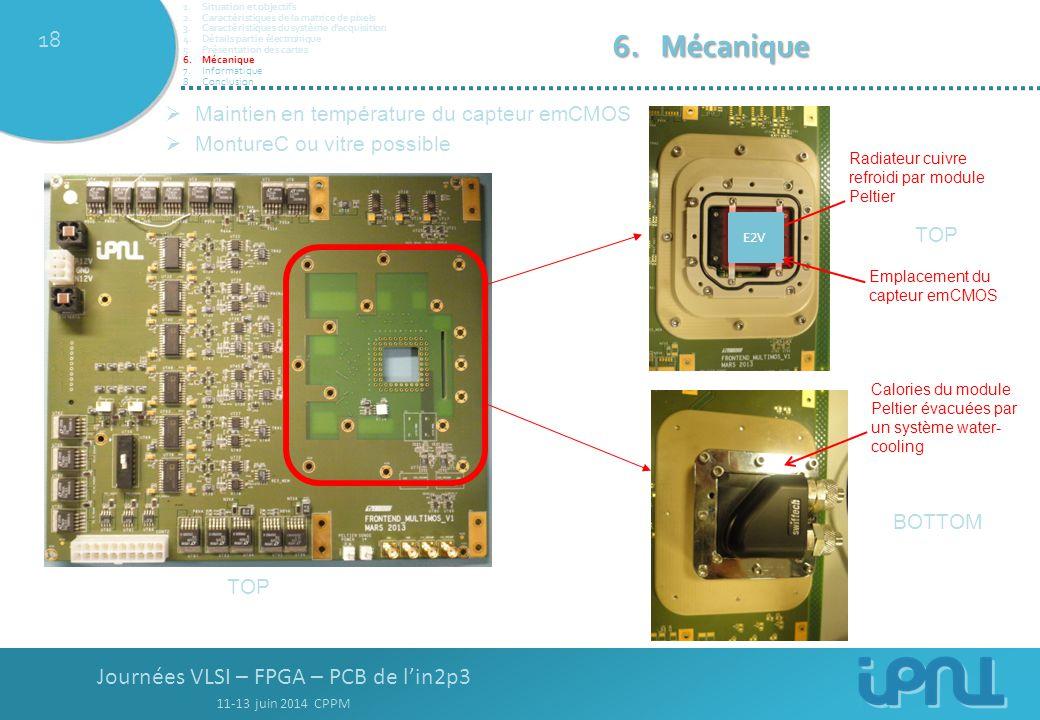 Journées VLSI – FPGA – PCB de l'in2p3 11-13 juin 2014 CPPM 18 TOP BOTTOM  Maintien en température du capteur emCMOS  MontureC ou vitre possible Radiateur cuivre refroidi par module Peltier Calories du module Peltier évacuées par un système water- cooling E2V Emplacement du capteur emCMOS TOP 1.Situation et objectifs 2.Caractéristiques de la matrice de pixels 3.Caractéristiques du système d'acquisition 4.Détails partie électronique 5.Présentation des cartes 6.Mécanique 7.Informatique 8.Conclusion 6.Mécanique