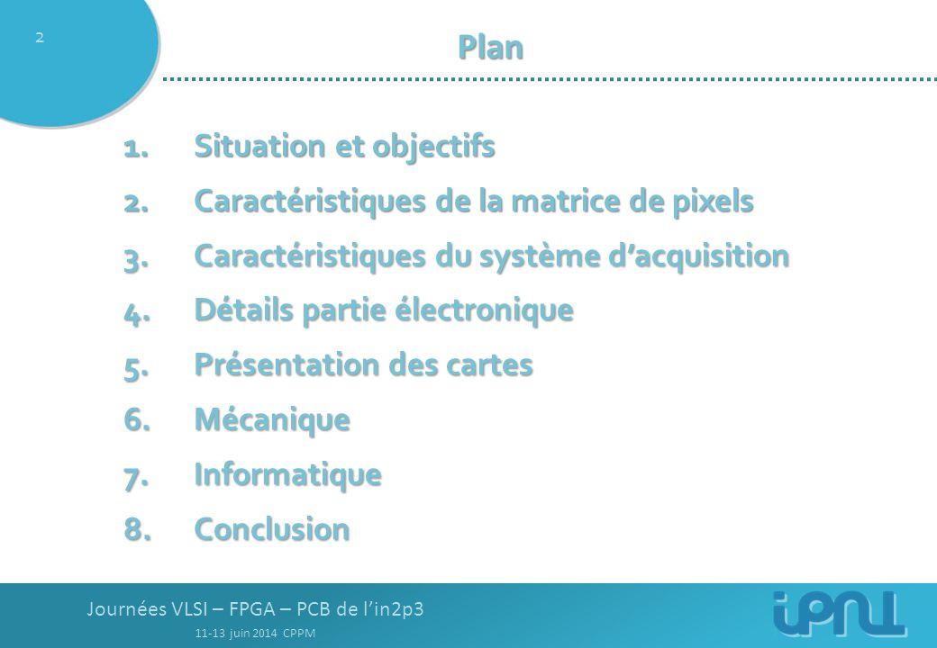 Journées VLSI – FPGA – PCB de l'in2p3 11-13 juin 2014 CPPM 2 Plan Plan 1.Situation et objectifs 2.Caractéristiques de la matrice de pixels 3.Caractéristiques du système d'acquisition 4.Détails partie électronique 5.Présentation des cartes 6.Mécanique 7.Informatique 8.Conclusion