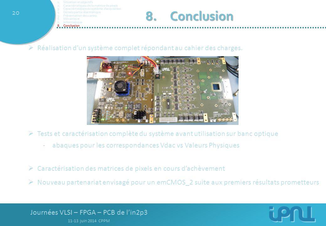 Journées VLSI – FPGA – PCB de l'in2p3 11-13 juin 2014 CPPM 20 8.Conclusion  Réalisation d'un système complet répondant au cahier des charges.