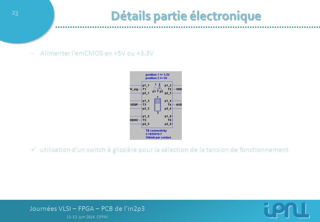Journées VLSI – FPGA – PCB de l'in2p3 11-13 juin 2014 CPPM 23 Détails partie électronique -Alimenter l'emCMOS en +5V ou +3.3V utilisation d'un switch à glissière pour la sélection de la tension de fonctionnement