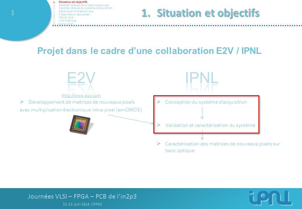 Journées VLSI – FPGA – PCB de l'in2p3 11-13 juin 2014 CPPM 3 1.Situation et objectifs  Développement de matrices de nouveaux pixels avec multiplication électronique intra-pixel (emCMOS)  Conception du système d'acquisition  Caractérisation des matrices de nouveaux pixels sur banc optique http://www.e2v.com  Validation et caractérisation du système Projet dans le cadre d'une collaboration E2V / IPNL 1.Situation et objectifs 2.Caractéristiques de la matrice de pixels 3.Caractéristiques du système d'acquisition 4.Détails partie électronique 5.Présentation des cartes 6.Mécanique 7.Informatique 8.Conclusion