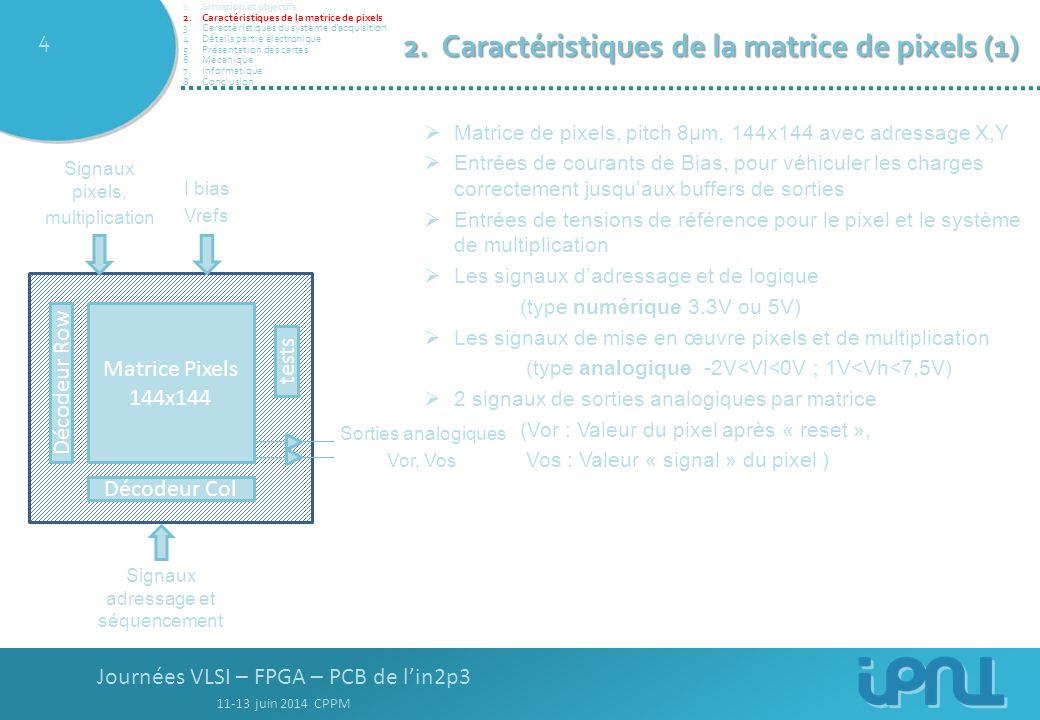 Journées VLSI – FPGA – PCB de l'in2p3 11-13 juin 2014 CPPM 4 2.Caractéristiques de la matrice de pixels (1)  Matrice de pixels, pitch 8µm, 144x144 avec adressage X,Y  Entrées de courants de Bias, pour véhiculer les charges correctement jusqu'aux buffers de sorties  Entrées de tensions de référence pour le pixel et le système de multiplication  Les signaux d'adressage et de logique (type numérique 3.3V ou 5V)  Les signaux de mise en œuvre pixels et de multiplication (type analogique -2V<Vl<0V ; 1V<Vh<7,5V)  2 signaux de sorties analogiques par matrice (Vor : Valeur du pixel après « reset », Vos : Valeur « signal » du pixel ) Matrice Pixels 144x144 Décodeur Row Décodeur Col Sorties analogiques Vor, Vos tests I bias Vrefs Signaux pixels, multiplication Signaux adressage et séquencement 1.Situation et objectifs 2.Caractéristiques de la matrice de pixels 3.Caractéristiques du système d'acquisition 4.Détails partie électronique 5.Présentation des cartes 6.Mécanique 7.Informatique 8.Conclusion