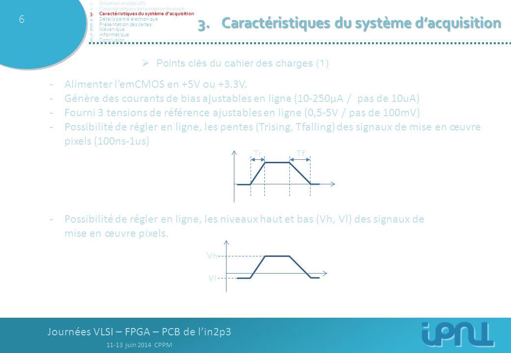 Journées VLSI – FPGA – PCB de l'in2p3 11-13 juin 2014 CPPM 17  Carte mezzanine TOPBOTTOM Montage gestion pentes + niveaux Sélection tension +5V, 3,3V Sorties analogiques emCMOS offset + pré-ampli Tensions de références emCMOS 1.Situation et objectifs 2.Caractéristiques de la matrice de pixels 3.Caractéristiques du système d'acquisition 4.Détails partie électronique 5.Présentation des cartes 6.Mécanique 7.Informatique 8.Conclusion 5.Présentation des cartes