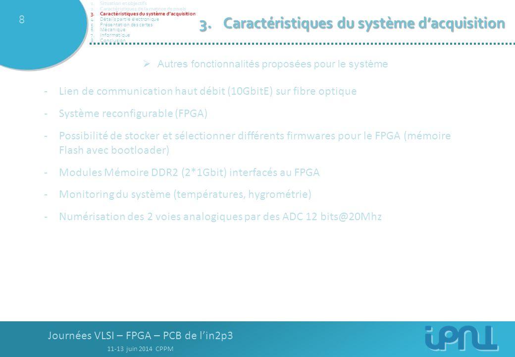Journées VLSI – FPGA – PCB de l'in2p3 11-13 juin 2014 CPPM 8 -Lien de communication haut débit (10GbitE) sur fibre optique -Système reconfigurable (FPGA) -Possibilité de stocker et sélectionner différents firmwares pour le FPGA (mémoire Flash avec bootloader) -Modules Mémoire DDR2 (2*1Gbit) interfacés au FPGA -Monitoring du système (températures, hygrométrie) -Numérisation des 2 voies analogiques par des ADC 12 bits@20Mhz  Autres fonctionnalités proposées pour le système 3.Caractéristiques du système d'acquisition 1.Situation et objectifs 2.Caractéristiques de la matrice de pixels 3.Caractéristiques du système d'acquisition 4.Détails partie électronique 5.Présentation des cartes 6.Mécanique 7.Informatique 8.Conclusion