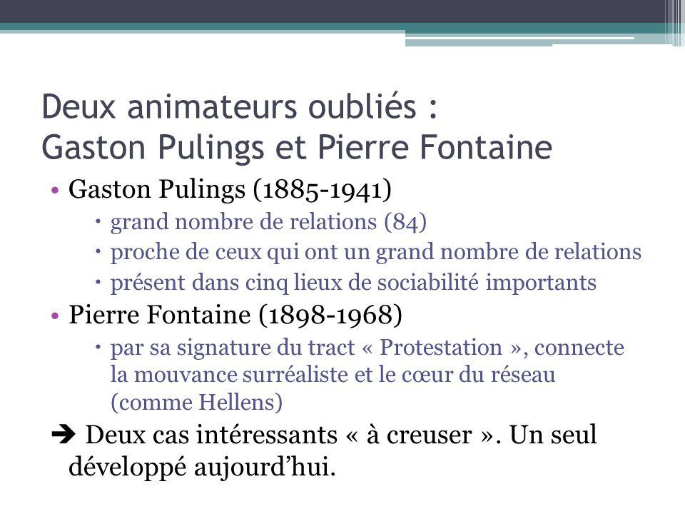 Deux animateurs oubliés : Gaston Pulings et Pierre Fontaine Gaston Pulings (1885-1941)  grand nombre de relations (84)  proche de ceux qui ont un gr
