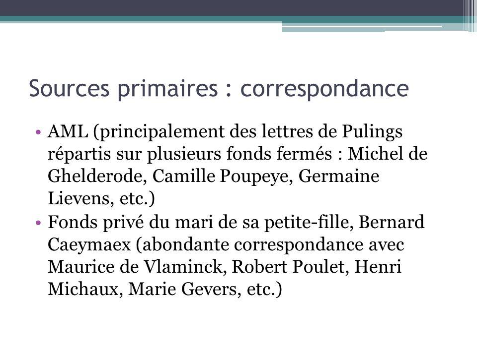 Sources primaires : correspondance AML (principalement des lettres de Pulings répartis sur plusieurs fonds fermés : Michel de Ghelderode, Camille Poup