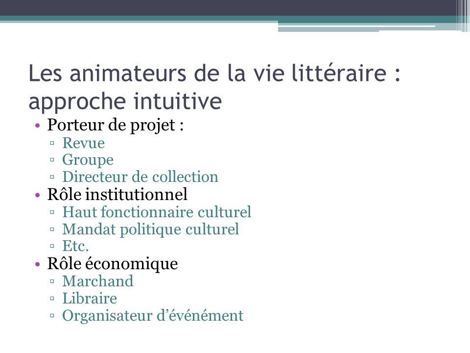 Les animateurs de la vie littéraire : approche intuitive Porteur de projet : ▫Revue ▫Groupe ▫Directeur de collection Rôle institutionnel ▫Haut fonctio