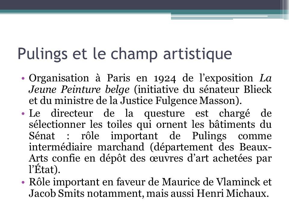 Pulings et le champ artistique Organisation à Paris en 1924 de l'exposition La Jeune Peinture belge (initiative du sénateur Blieck et du ministre de l