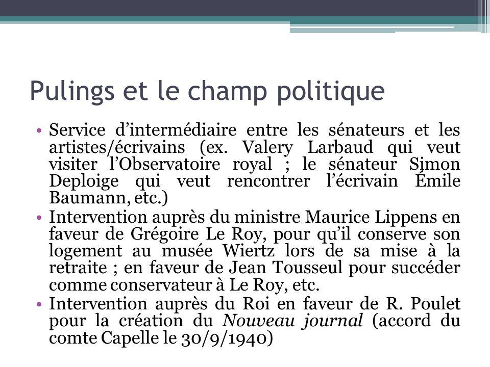Pulings et le champ politique Service d'intermédiaire entre les sénateurs et les artistes/écrivains (ex. Valery Larbaud qui veut visiter l'Observatoir