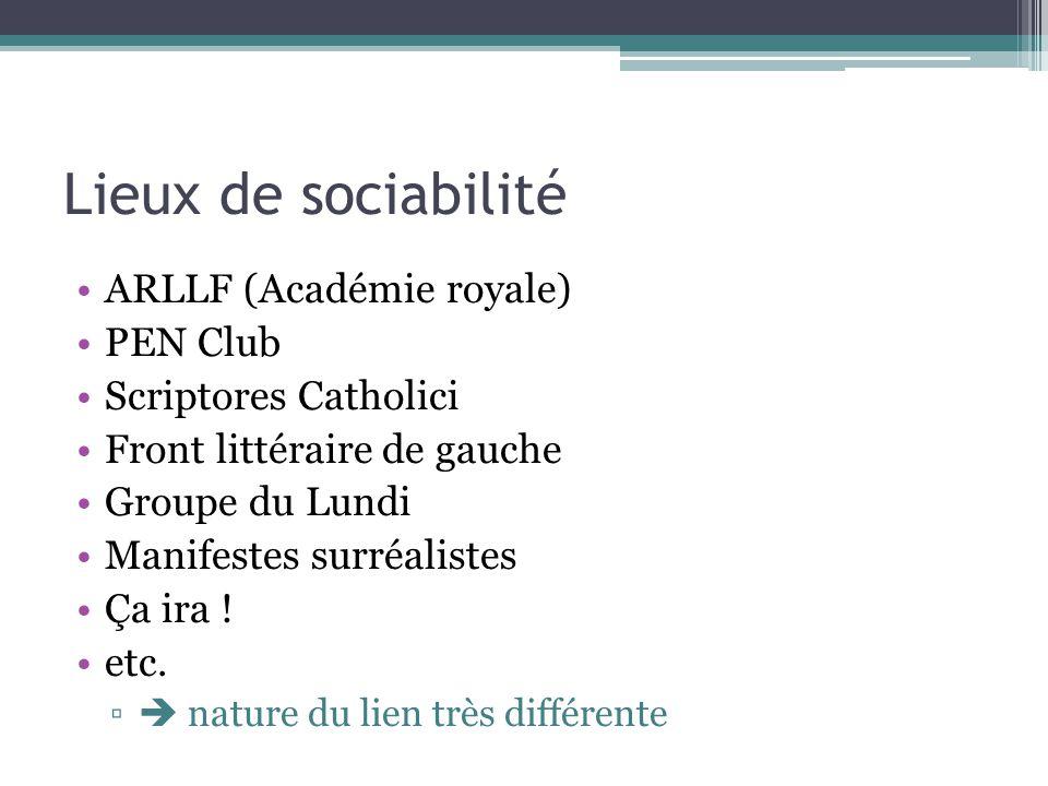 Lieux de sociabilité ARLLF (Académie royale) PEN Club Scriptores Catholici Front littéraire de gauche Groupe du Lundi Manifestes surréalistes Ça ira !