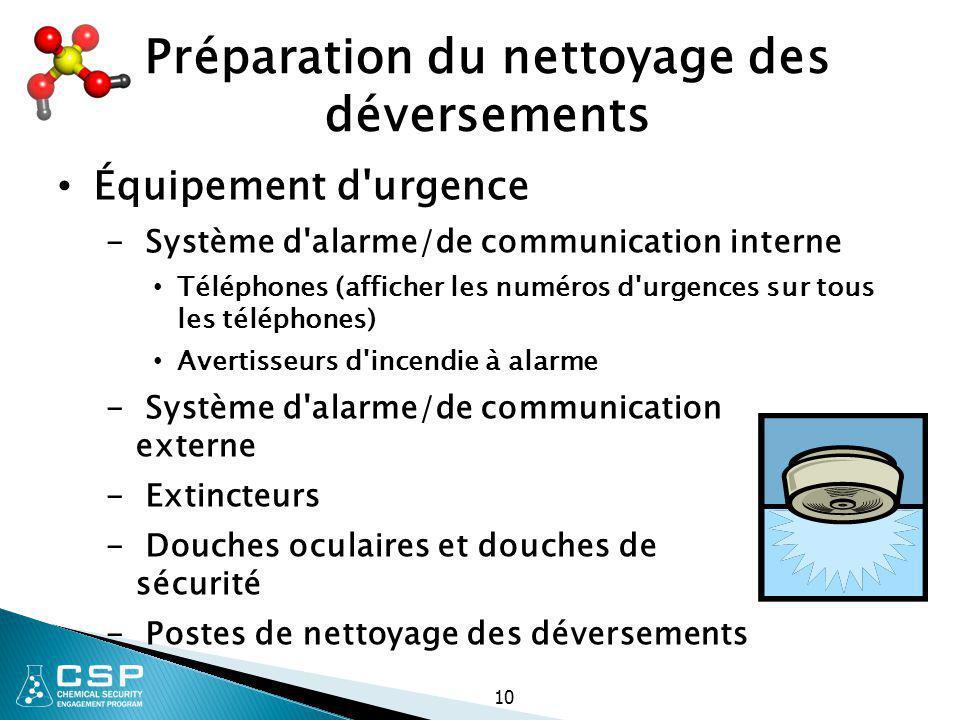 10 Préparation du nettoyage des déversements Équipement d'urgence - Système d'alarme/de communication interne Téléphones (afficher les numéros d'urgen