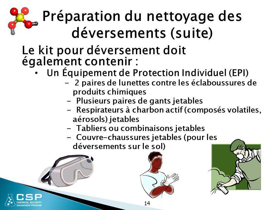 14 Un Équipement de Protection Individuel (EPI) - 2 paires de lunettes contre les éclaboussures de produits chimiques - Plusieurs paires de gants jeta