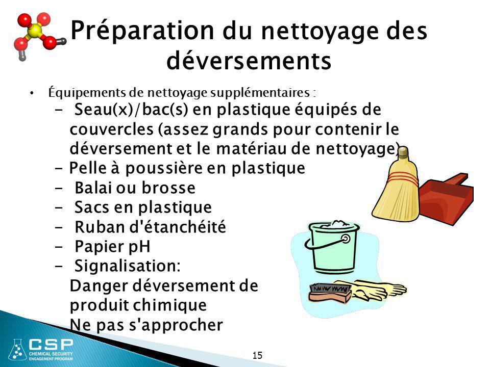 15 Préparation du nettoyage des déversements Équipements de nettoyage supplémentaires : - Seau(x)/bac(s) en plastique équipés de couvercles (assez gra