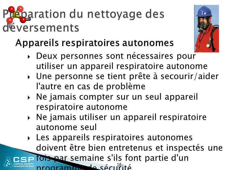16 Préparation du nettoyage des déversements  Deux personnes sont nécessaires pour utiliser un appareil respiratoire autonome  Une personne se tient