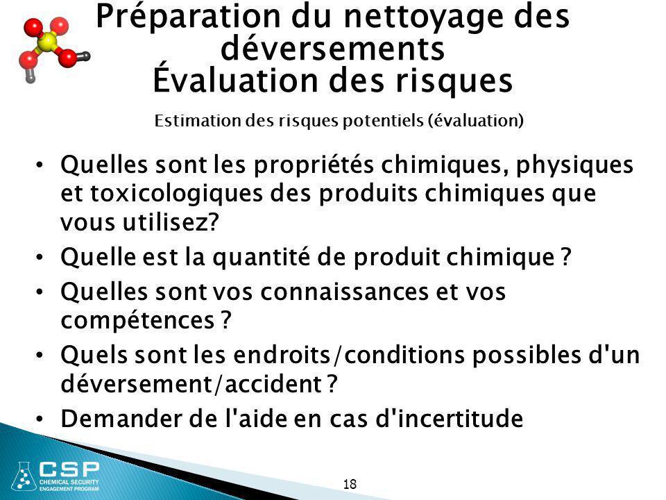 18 Préparation du nettoyage des déversements Évaluation des risques Quelles sont les propriétés chimiques, physiques et toxicologiques des produits ch