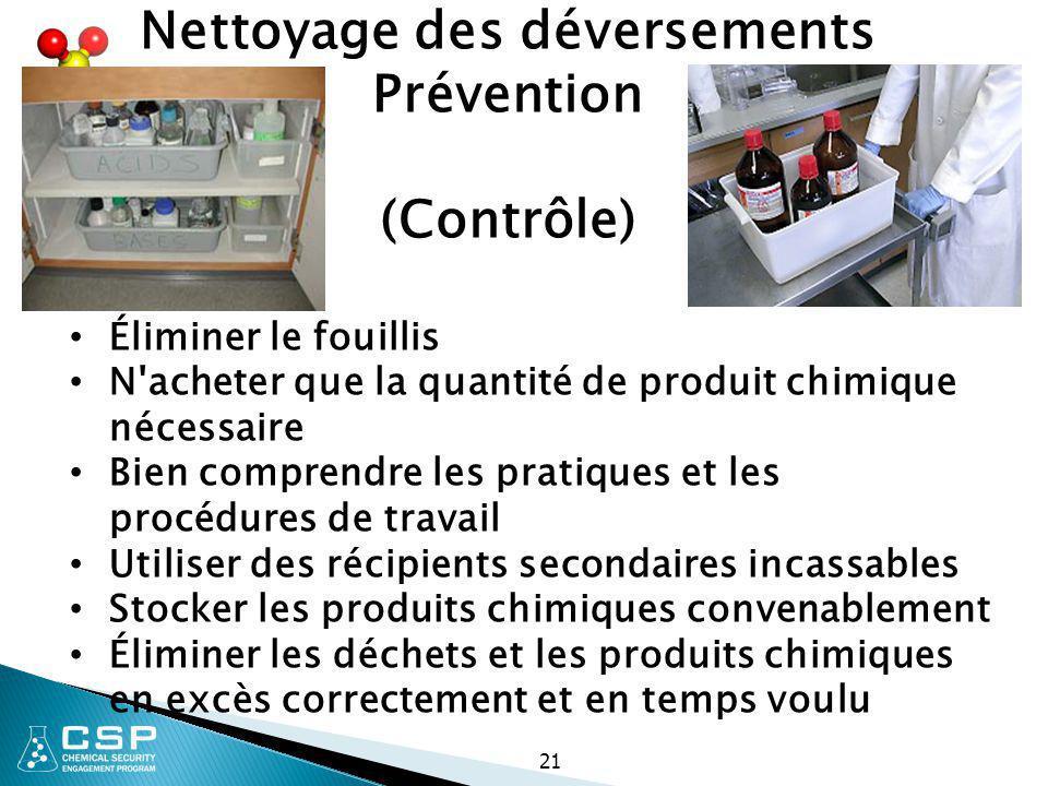 21 Nettoyage des déversements Prévention (Contrôle) Éliminer le fouillis N'acheter que la quantité de produit chimique nécessaire Bien comprendre les