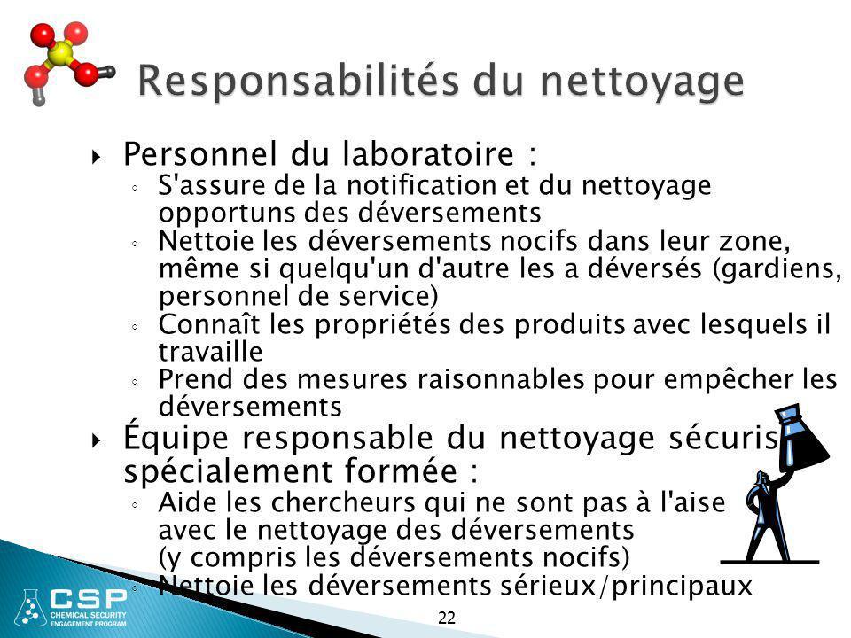 22 Responsabilités du nettoyage  Personnel du laboratoire : ◦ S'assure de la notification et du nettoyage opportuns des déversements ◦ Nettoie les dé