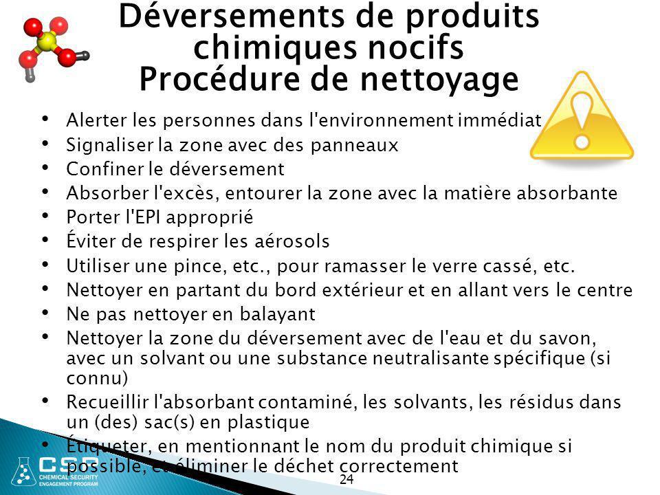 24 Déversements de produits chimiques nocifs Procédure de nettoyage Alerter les personnes dans l'environnement immédiat Signaliser la zone avec des pa