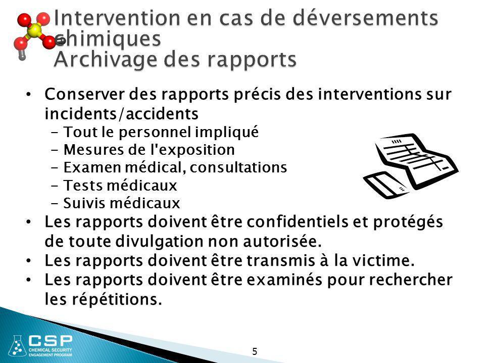 5 Conserver des rapports précis des interventions sur incidents/accidents - Tout le personnel impliqué - Mesures de l'exposition - Examen médical, con