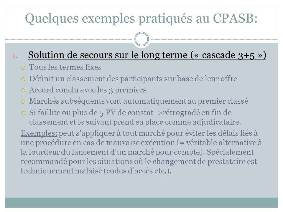 Quelques exemples pratiqués au CPASB: 1. Solution de secours sur le long terme (« cascade 3+5 »)  Tous les termes fixes  Définit un classement des p
