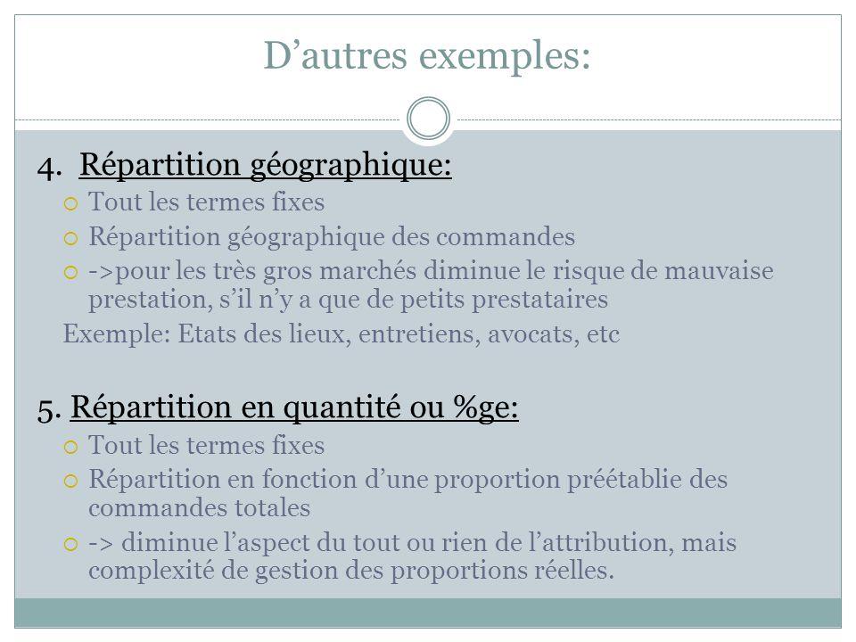 D'autres exemples: 4. Répartition géographique:  Tout les termes fixes  Répartition géographique des commandes  ->pour les très gros marchés diminu