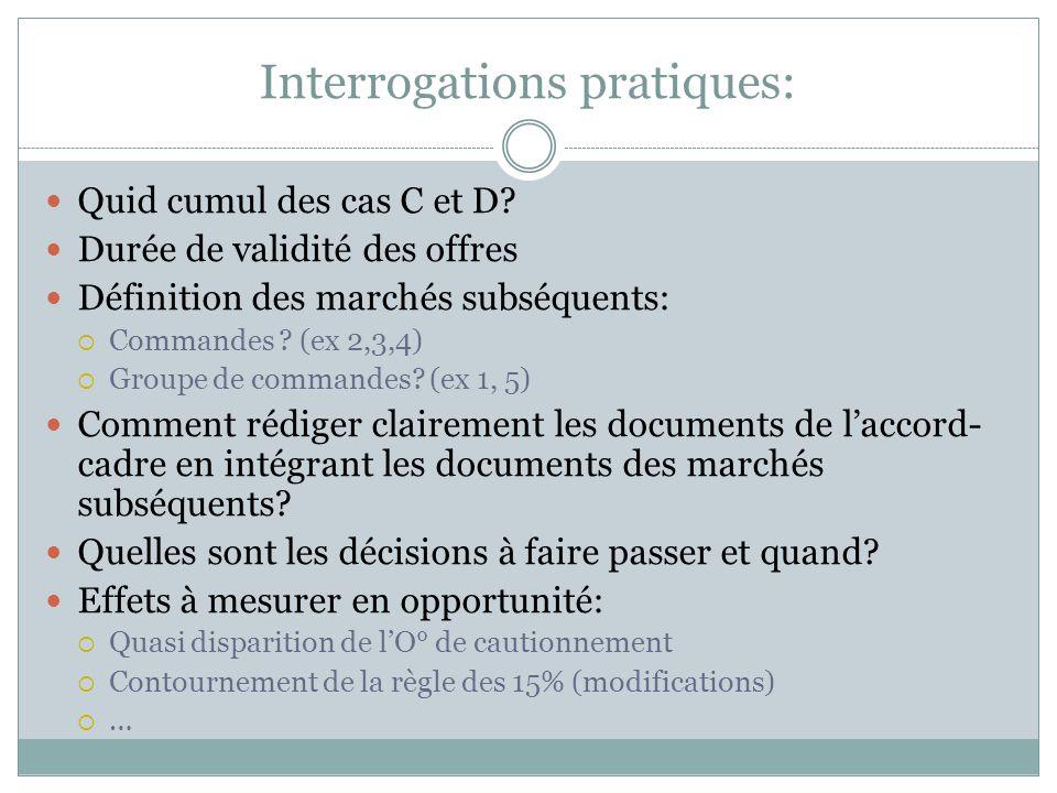 Interrogations pratiques: Quid cumul des cas C et D? Durée de validité des offres Définition des marchés subséquents:  Commandes ? (ex 2,3,4)  Group