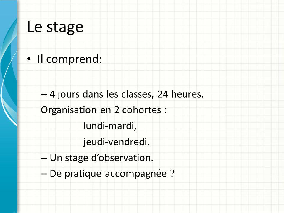 Le stage Il comprend: – 4 jours dans les classes, 24 heures. Organisation en 2 cohortes : lundi-mardi, jeudi-vendredi. – Un stage d'observation. – De