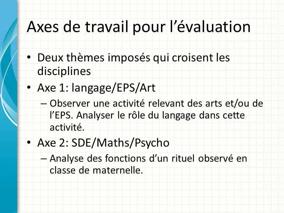 Axes de travail pour l'évaluation Deux thèmes imposés qui croisent les disciplines Axe 1: langage/EPS/Art – Observer une activité relevant des arts et