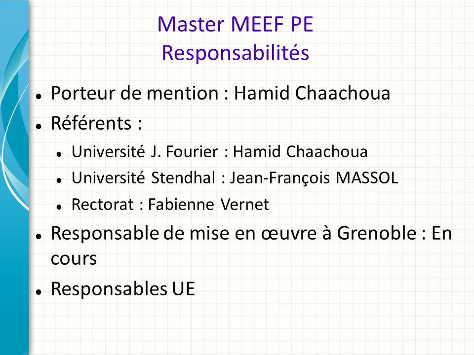 Master MEEF PE Responsabilités Porteur de mention : Hamid Chaachoua Référents : Université J. Fourier : Hamid Chaachoua Université Stendhal : Jean-Fra