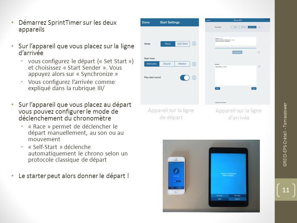 Démarrez SprintTimer sur les deux appareils Sur l'appareil que vous placez sur la ligne d'arrivée vous configurez le départ (« Set Start ») et choisis