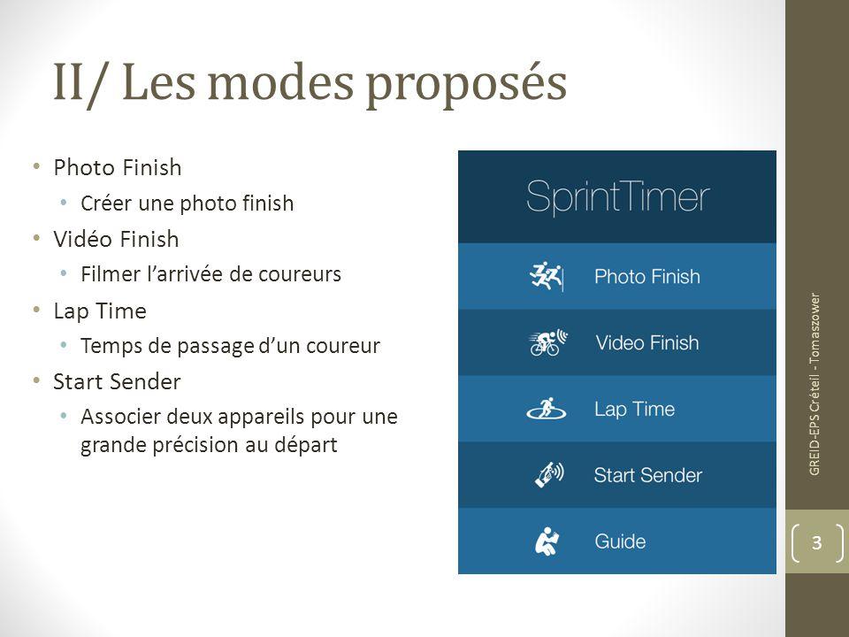 II/ Les modes proposés Photo Finish Créer une photo finish Vidéo Finish Filmer l'arrivée de coureurs Lap Time Temps de passage d'un coureur Start Send