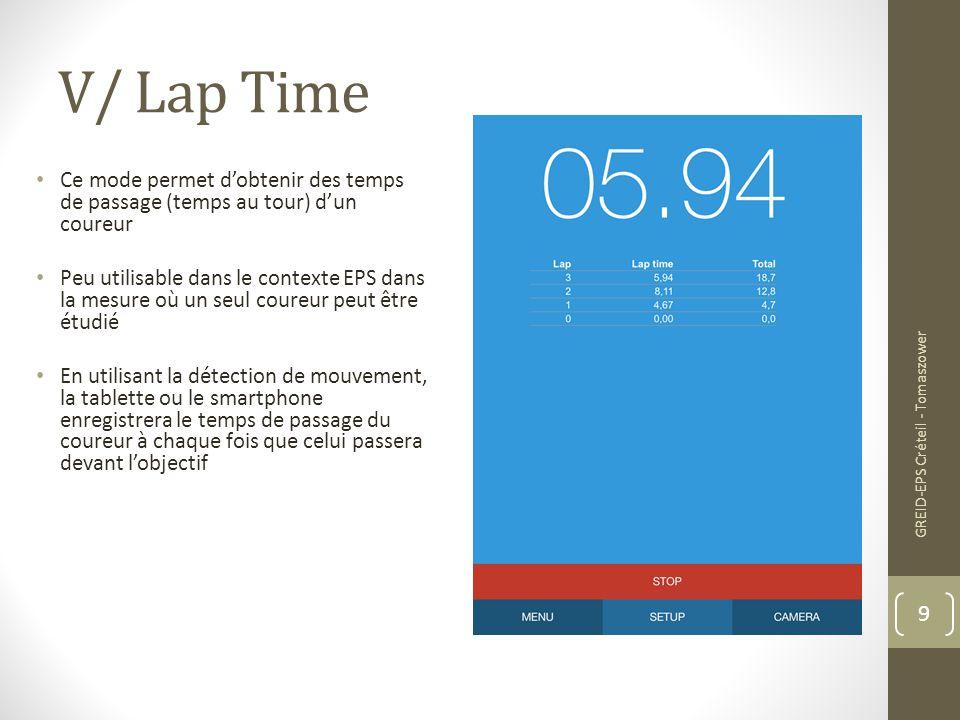 V/ Lap Time Ce mode permet d'obtenir des temps de passage (temps au tour) d'un coureur Peu utilisable dans le contexte EPS dans la mesure où un seul c