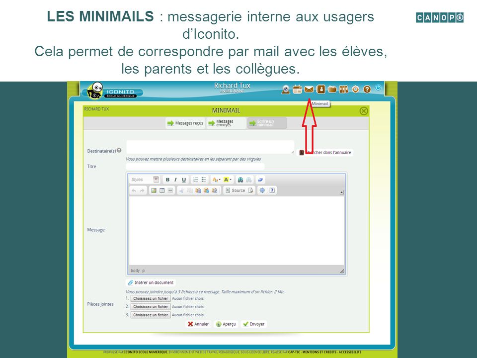 LES MINIMAILS : messagerie interne aux usagers d'Iconito.