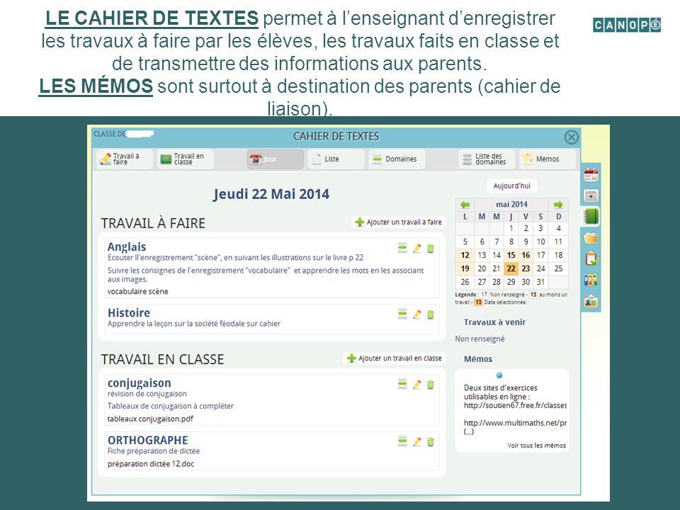 L'AGENDA: Il permet d'afficher l'emploi du temps de la classe, les évènements de l'école à venir.