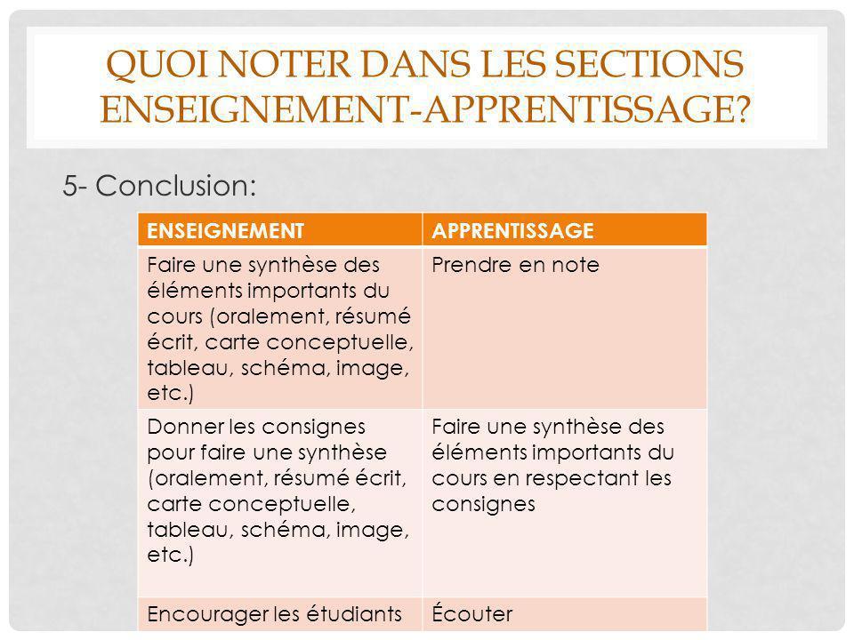 QUOI NOTER DANS LES SECTIONS ENSEIGNEMENT-APPRENTISSAGE? 5- Conclusion: ENSEIGNEMENTAPPRENTISSAGE Faire une synthèse des éléments importants du cours