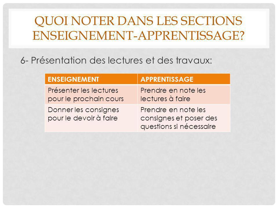 QUOI NOTER DANS LES SECTIONS ENSEIGNEMENT-APPRENTISSAGE? 6- Présentation des lectures et des travaux: ENSEIGNEMENTAPPRENTISSAGE Présenter les lectures